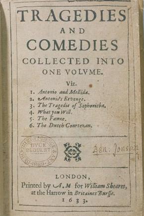 Обложка первого издания пьес Джона Марстона