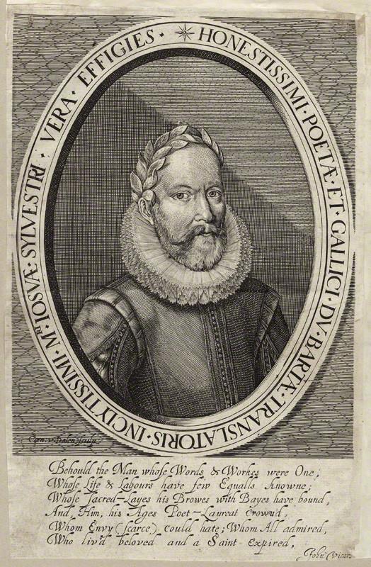 Джошуа Силвестер. Гравюра Корнелиса ван Далена с портрета неизвестного художника, 1614–1615 (Национальная портретная галерея)