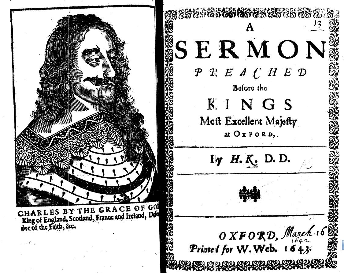 Титульный лист издания проповеди Генри Кинга перед королем Карлом I (Оксфорд, 1643)