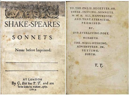 Титульный лист и посвящение в первом издании «Сонетов» Шекспира (1609)