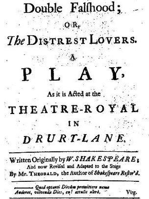 Титульная страница первого издания пьесы «Двойной обман» (Double Falsehood)